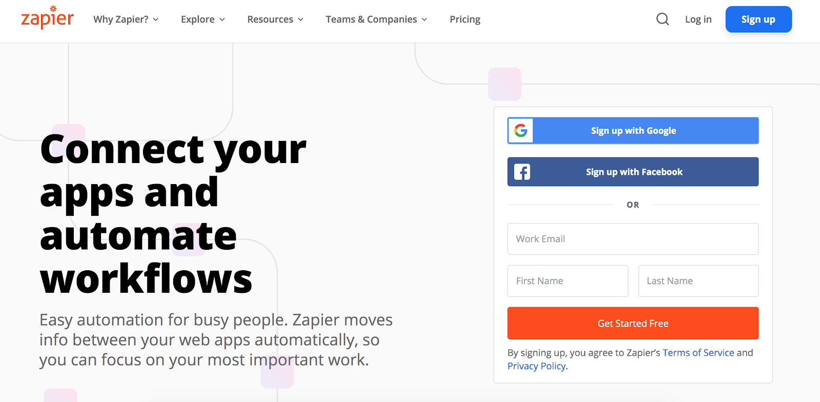 Zapier automation tool homepage