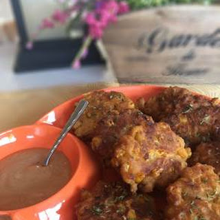 Beer Battered Corn Fritters with BBQ Ranch Sauce