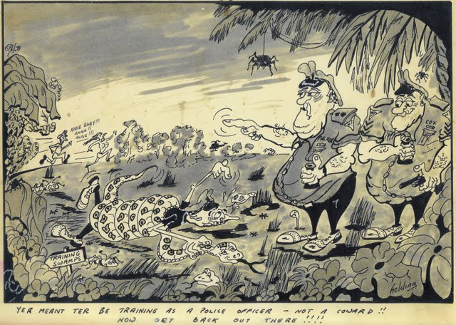 Photo: Cartoon of Mick Palmer and Lynn Cox as instructors at the Police Training Centre in Darwin in the 1970's