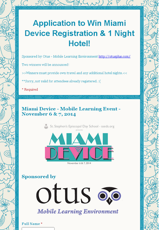 Application to Win Miami Device Registration & 1 Night Hotel!