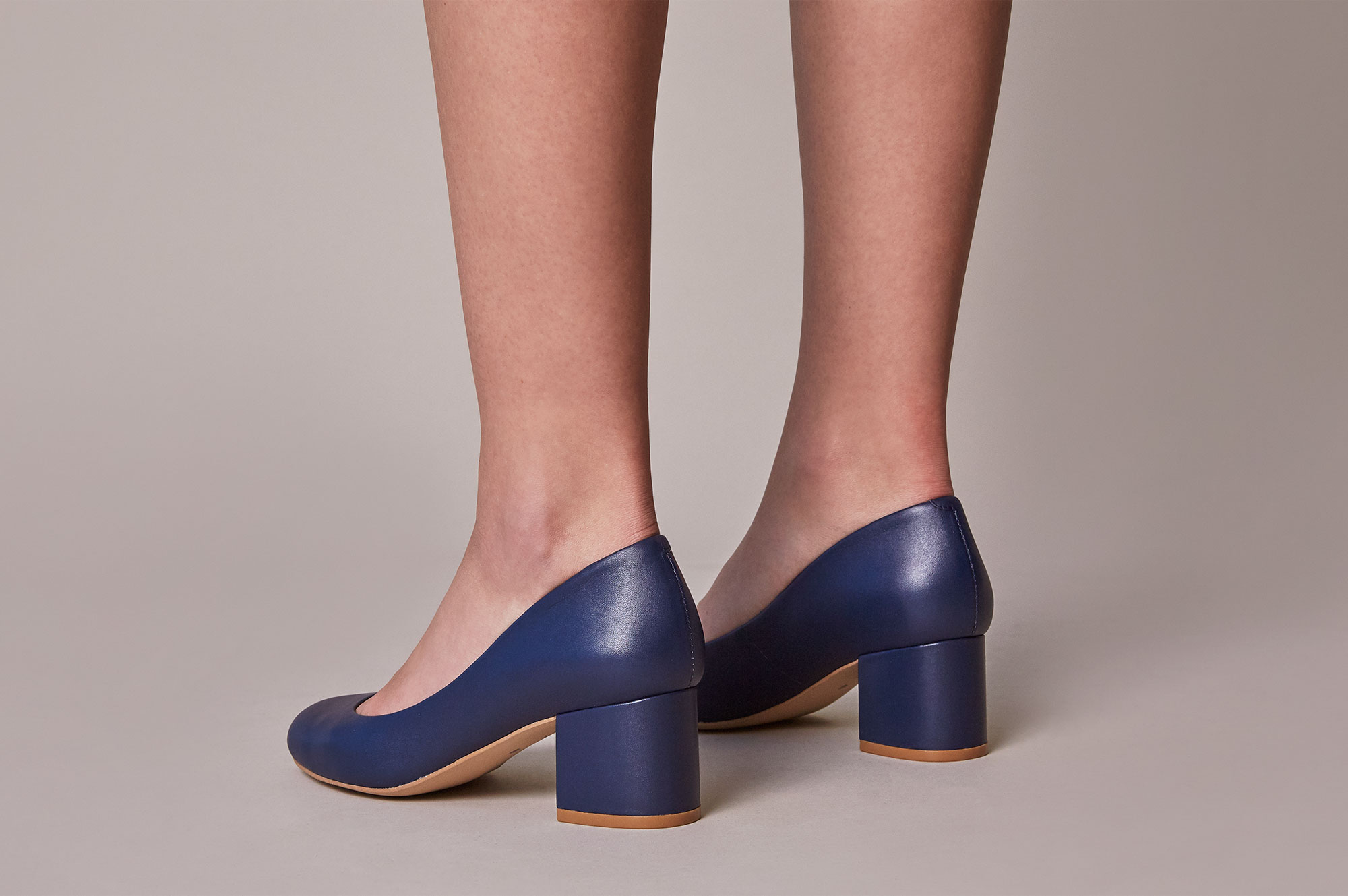 Design your own shoes — navy leather kitten heel height