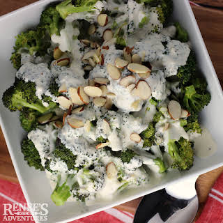 Roasted Broccoli with Garlic Cheese Sauce.