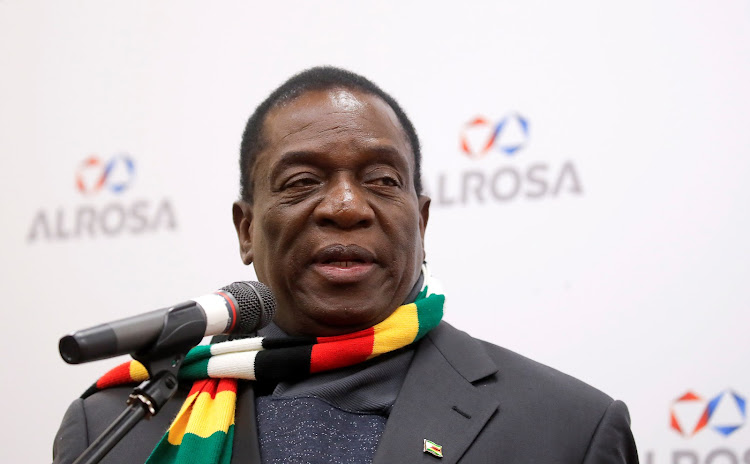 Zimbabwe's president Emmerson Mnangagwa delivers a speech as he visits the Russian diamond producer Alrosa in Moscow, Russia, on January 14 2019. President Cyril Ramaphosa will meet his Zimbabwean counterpart on Tuesday.