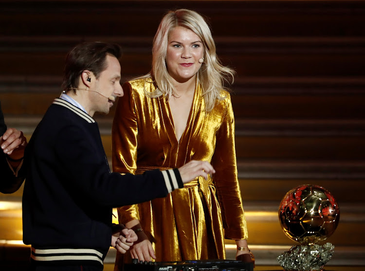 Ada Hegerberg and DJ Solveig on stage at the Ballon d'Or 2018 awards event.