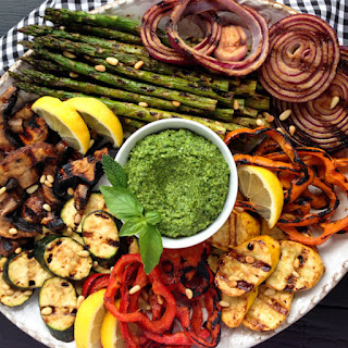 Miso-Butter Grilled Veggies with Basil-Mint Pesto.