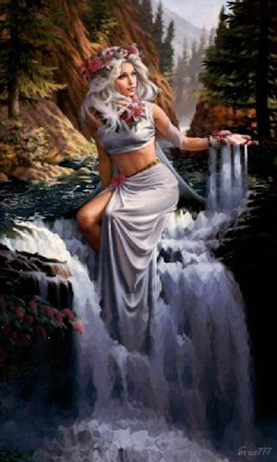 Waterfall Woman Live Wallpaper