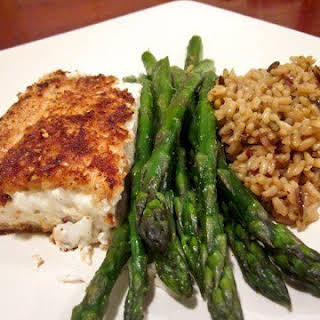 Almond-Crusted Halibut.