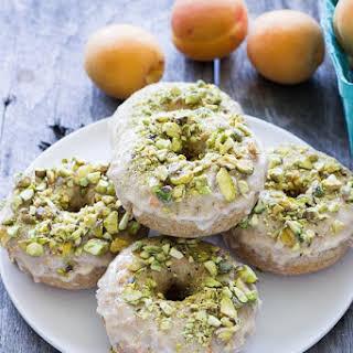 Baked Vanilla Bean Spelt Donuts with Apricot Pistachio Glaze.