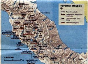 Photo: Toponimi etruschi in Centro-Italia, in versione originale e modificata in forme successive, latine o  medievali