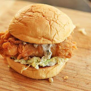Fried Fish Sandwiches With Creamy Slaw and Tartar Sauce.