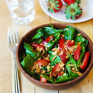 Spinach Salad With Strawberries And Toasted Almonds.