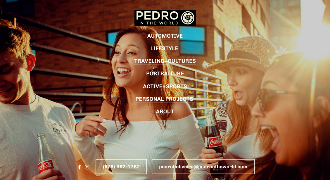 Screenshot of photography website design for Pedro n the World
