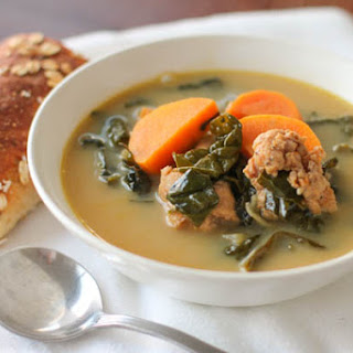Spicy Chicken Sausage, Sweet Potato, and Kale Soup