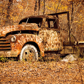 NO TRESPASSING by Jennifer  Loper  - Artistic Objects Signs ( rust, sign, paint, old truck, skull )