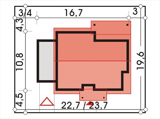 Antek II wersja B z pojedynczym garażem - Sytuacja
