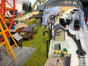 Photo: 110 Looking through the busy station canopy as various trains are marshalled dfor the day's activities .