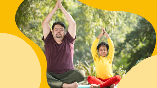 image of man and young girl stretching in yoga pose