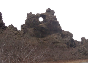 Photo: At Dimmuborgir we walked around some fantastic lava formations.  These are supposed to look like two trolls kissing!