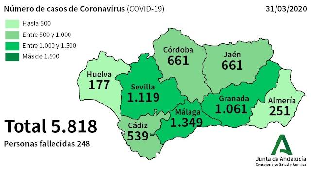 Mapa de la distribución de casos en Andalucía.