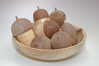 "Photo: Ed Karch - Bowl of ""Nut"" Lidded Boxes - walnut, ash, beech - various sizes"