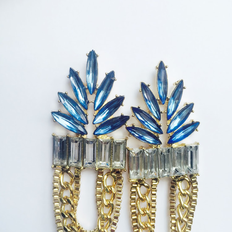 E039 - M. Lady of Grace Blue Crystal Chaining Earrings by House of LaBelleD.