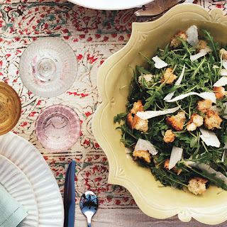 Wild Arugula Salad with Garlic Croutons, Shaved Parmesan, and Lemon
