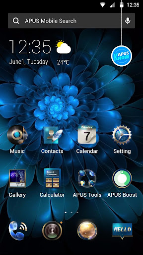 Blue Flower Butterfly  - APUS Launcher Free Theme - screenshot