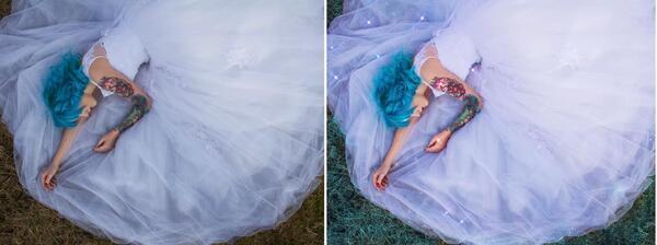 Antes e depois da foto da mulher deitada na grama com um vestido azul claro.