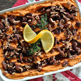 Creamy Sweet Potato Casserole With Browned Butter And Cinnamon Maple Pecans.