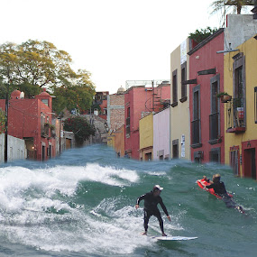 surfing quebrada by John Kolenberg - Digital Art Places ( surfboards, surfing, mexico.street, waves, surf, people, surfers )