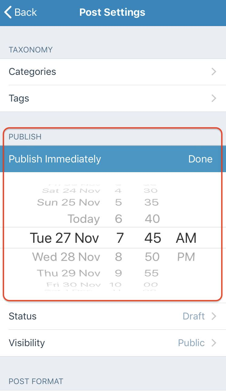 Schedule WordPress entry on mobile.