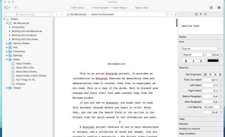 Screenshot of storyist app interface