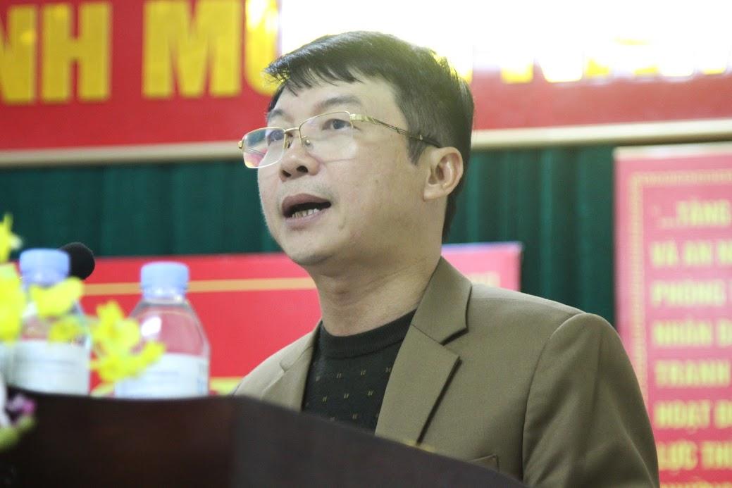 Đồng chí Nguyễn Tiến Dũng, Chủ tịch UBND huyện Nghi Lộc đánh giá cao kết quả Công an huyện Nghi Lộc đạt được trong năm qua