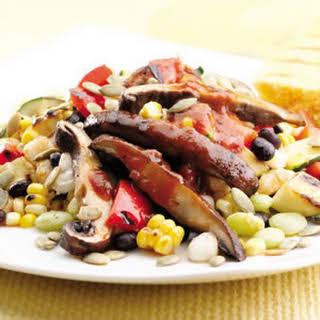 Black Bean & Hominy Succotash with Barbecued Portobello Mushrooms.