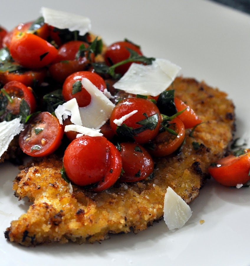 Spicy Chicken Milanese with Tomato Salad and Parmesan