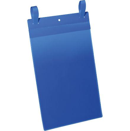 Plastficka A4S m. fästband blå