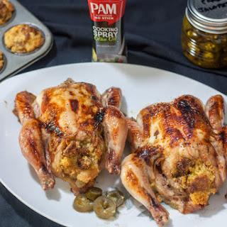Sweet & Spicy Jalapeño Glazed Roasted Game Hens.