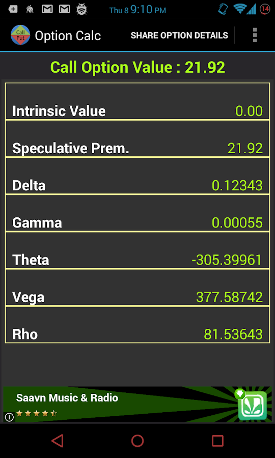 Calculate delta stock options