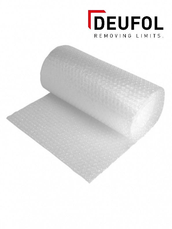 Transparent bubble wrap on a roll.