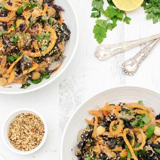 Kale & Mushroom Sweet Potato Noodles with Tahini Miso Sauce [vegan] [gluten free].