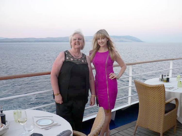 Gemma and her mum aboard Silver Spirit.