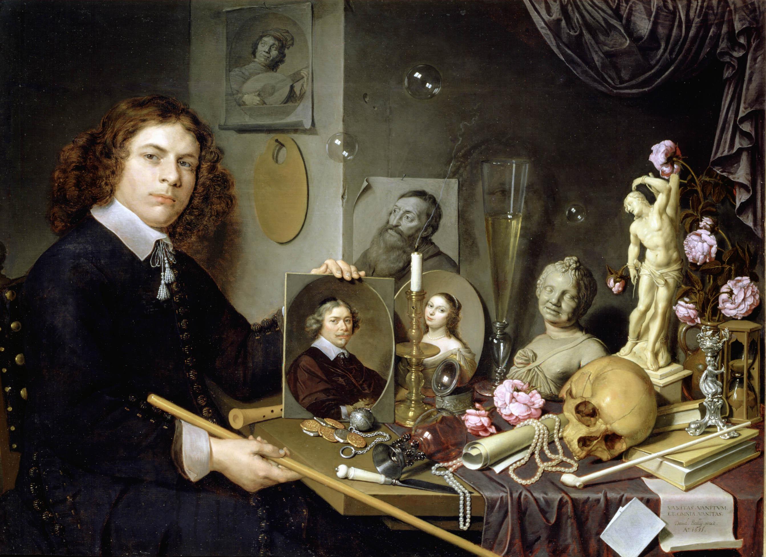 Vanitas-stilleven met zelfportret van de schilder
