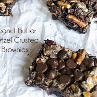 Peanut Butter Chocolate Pretzel Crusted Brownies.