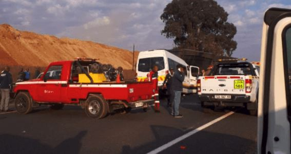 A small bus rear-ended a truck on the N12 highway near the Khutala offramp in Ogies, Mpumalanga.