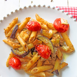 Penne with Roasted Eggplant and Cherry Tomatoes.
