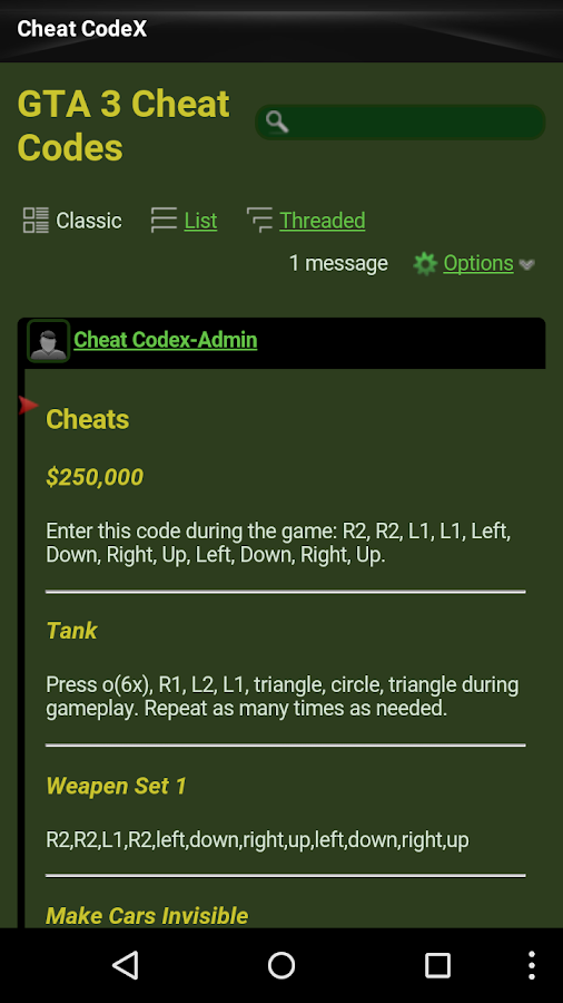 Cheat Codes- screenshot