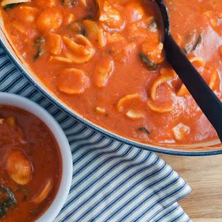 Creamy Tomato, Chicken, and Spinach Soup.