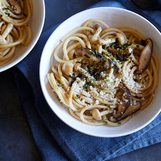Wild Mushroom Wafu Pasta with a Soy Butter Sauce.