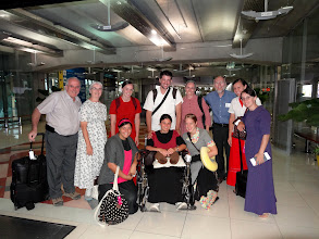 Photo: The full IGo-MTMministry team on the way back to Chiang Mai, Thailand in the Bangkok airport. Front Row -L-R; Alisha Rutt, Sandra Mast (wife of Caleb behind her and she was took ill in Kathmandu) & Laura Martin. Back Row; Raymond & Naomi Burkholder, Marilyn King, Caleb Mast, Judy & Merle Flory, Rosa King & Rachel King.
