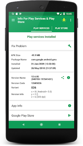 Play Services & Play store Information 6.0 screenshots 1